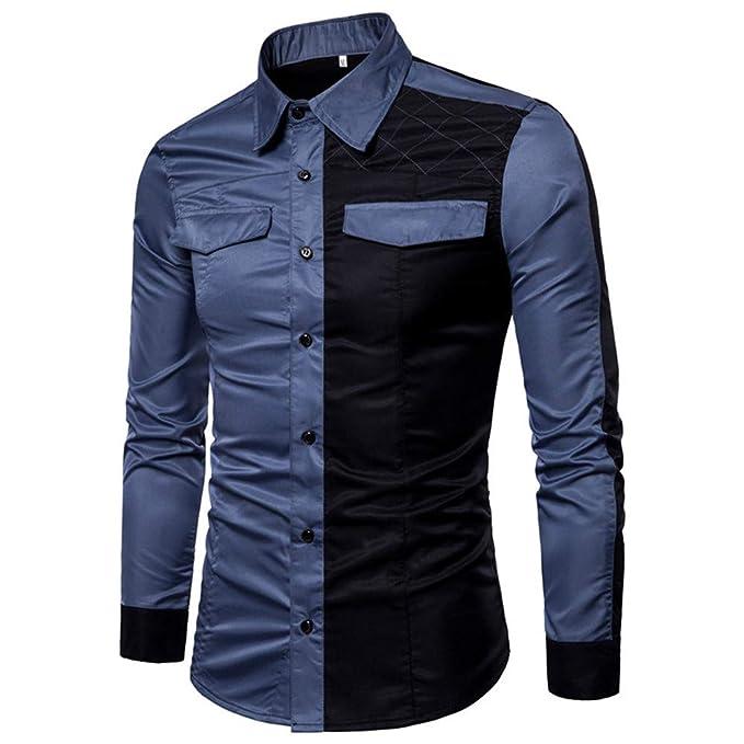 Bestow Hombres de Manga Larga de Oxford Trajes Formales Slim Fit tee Camisas de Vestir Blusa Cosido Bolsillo de Invierno: Amazon.es: Ropa y accesorios