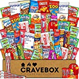 CraveBox - Deluxe Care Package Snack Box (60 Count) - Gift Basket Variety Pack with Bars, Chips, Candy and Cookies - Treats for Office, Lunches, College Students, Spring Final Exams, Easter Sunday
