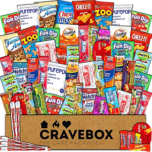 - CraveBox - Deluxe Care Package Snack Box (60 Count) - Gift Basket Variety Pack with Bars, Chips, Candy and Cookies - Treats for Office, Lunches, College Students, Spring Final Exams, Easter Sunday