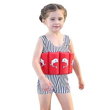 Bañador de una pieza con flotador integrado, para niños y niñ