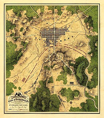 Battle of Gettysburg - Civil War - (1863) - Panoramic Map (9x12 Art Print, Wall Decor Travel Poster)