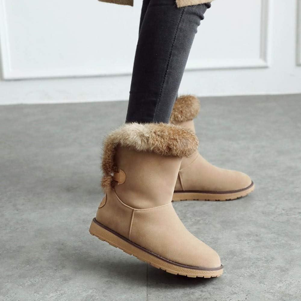 GAOQQ Winter Damen Stiefel Wide Calf,Flache Griffsohle Pelzgefütterte Ankle Schuhe,Grey-CN40 Apricot Cn42