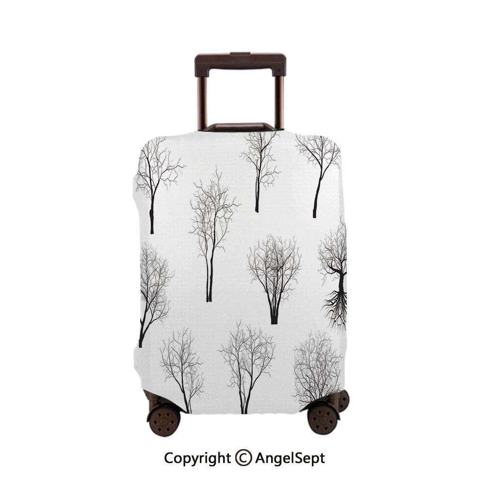 Travel Luggage Cover Spandex Suitcase,Spooky Horror Movie Themed Branches Forest Trees Nature Black and White,26x37.8inches,Protector Carry On Covers with Zipper