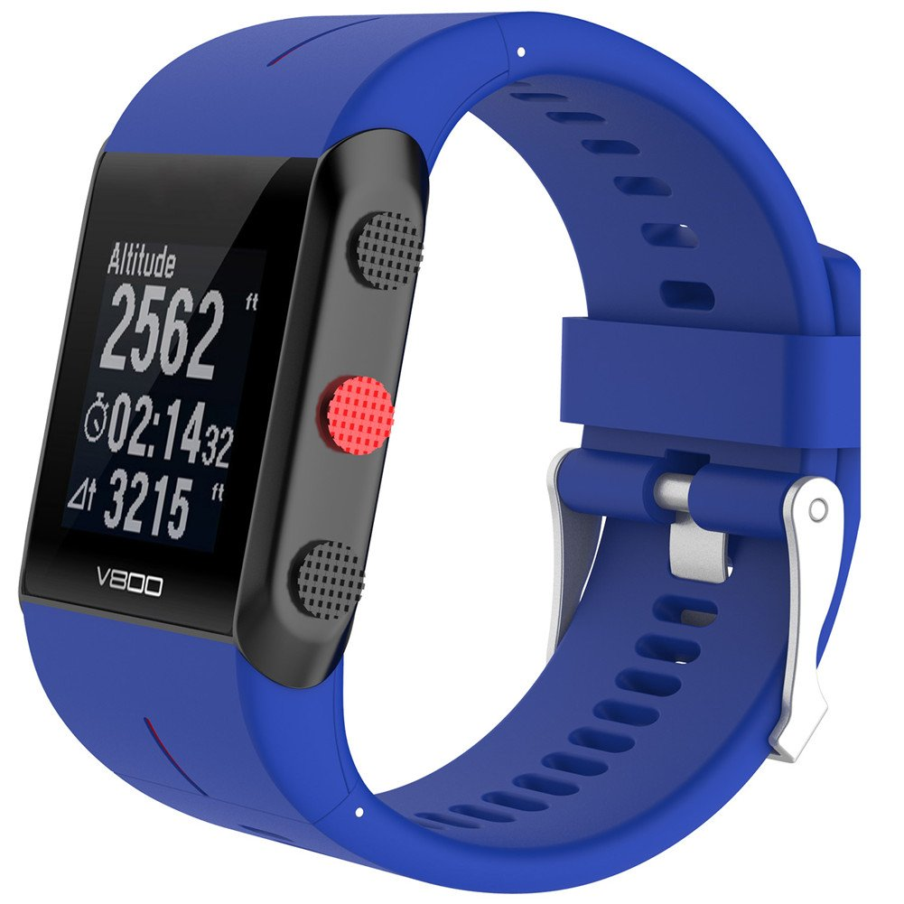 luermeシリコンリストバンド交換用ストラップブレスレット手首バンドfor Polar v800 Smart Watch withツール  ブルー B07CQPJQC2