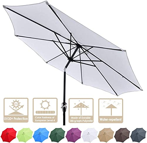 Yeshom 9ft UV 30 Aluminum Outdoor Patio Umbrella with Crank Tilt 8 Ribs Air-Vented for Garden Table Deck Yard Beach
