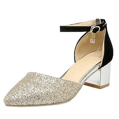 TAOFFEN Damen Party Knochelriemchen Sandalen D'orsay Pumps Sommer Schuhe Black Size 32 Asian vIMlsAl