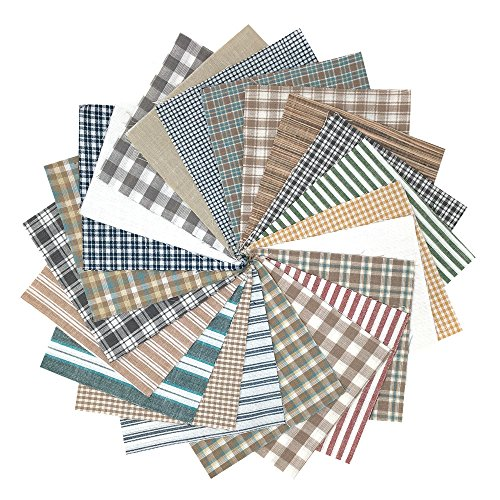 40+ Whitewash Neutral Plaid Charm Pack, 5 inch Precut Cotton Homespun Fabric Squares by JCS