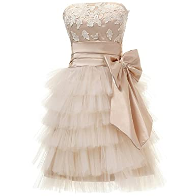 real photos vestidos 2017 new hot sexy tulle tiered lace appliques bow brides short mini Bridesmaid