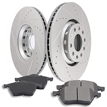 For 2005-2011 Audi A6 Quattro Front Rear Slotted Brake Rotors+Ceramic Brake Pads