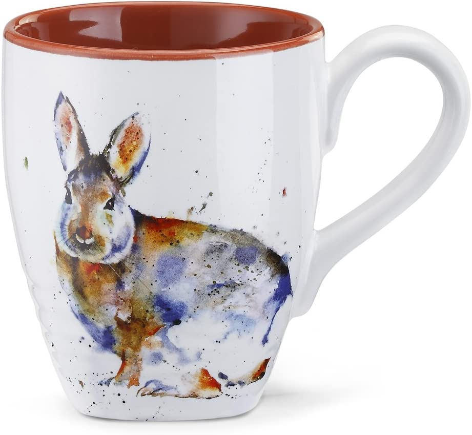 Cottontail Watercolor Red On White 16 Ounce Glossy Stoneware Mug With Handle