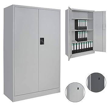 Aktenschrank abschließbar hoch  Spind Büroschrank Aktenschrank 140 x 85 x 39 cm Metallschrank  Universalschrank mit 3 Einlegeböden, Höhe frei montierbar Ordnerschrank, ...