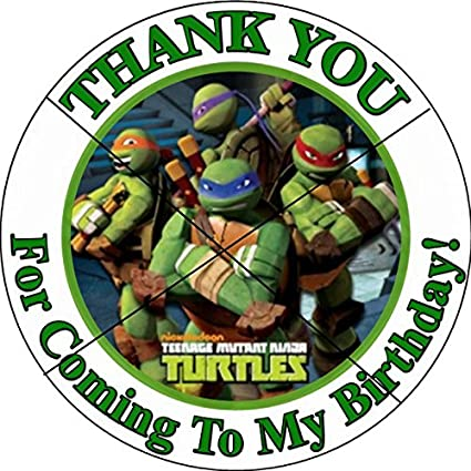 12 NINJA TURTLE TMNT - Birthday Party Favor Stickers/Labels for Gift, Goody Treat Bag (2.5 inches circle stickers, bags not included)