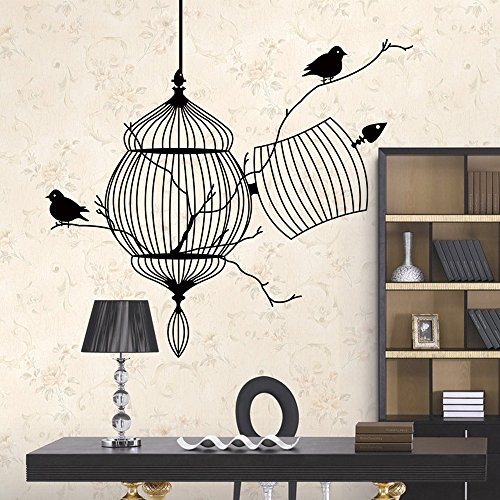 (OTTATAT Wall Stickers for Girls 2019,Black Birdcage Bird Removable Art Wall Sticker Home Decor Vinyl Mural Easy to Stick Lingerie Party, Club Gift for Bride On Sale)