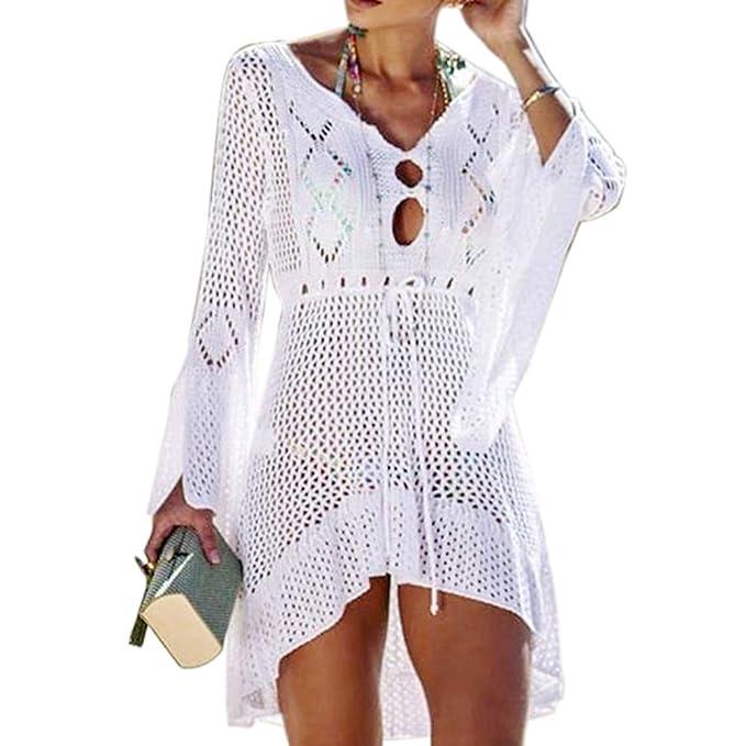 d5132a981c Women's Bathing Suit Cover Up Swimsuit Beachwear Bikini Swimwear Crochet  Lace Long Dress Beach Cover Ups