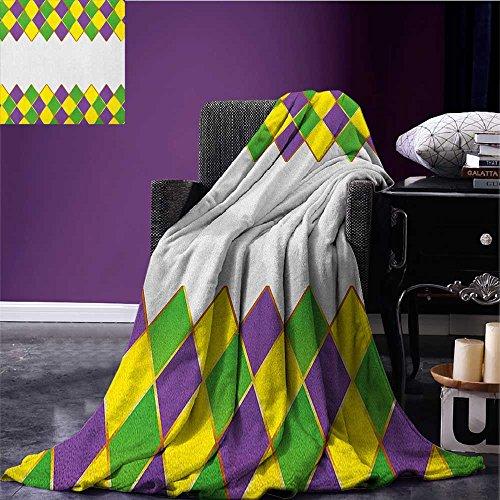 Mardi Gras survival blanket Carnival Colored Grid Design Diamond Line Pattern Retro Framework space blanket Purple Lime Green Yellow size:59