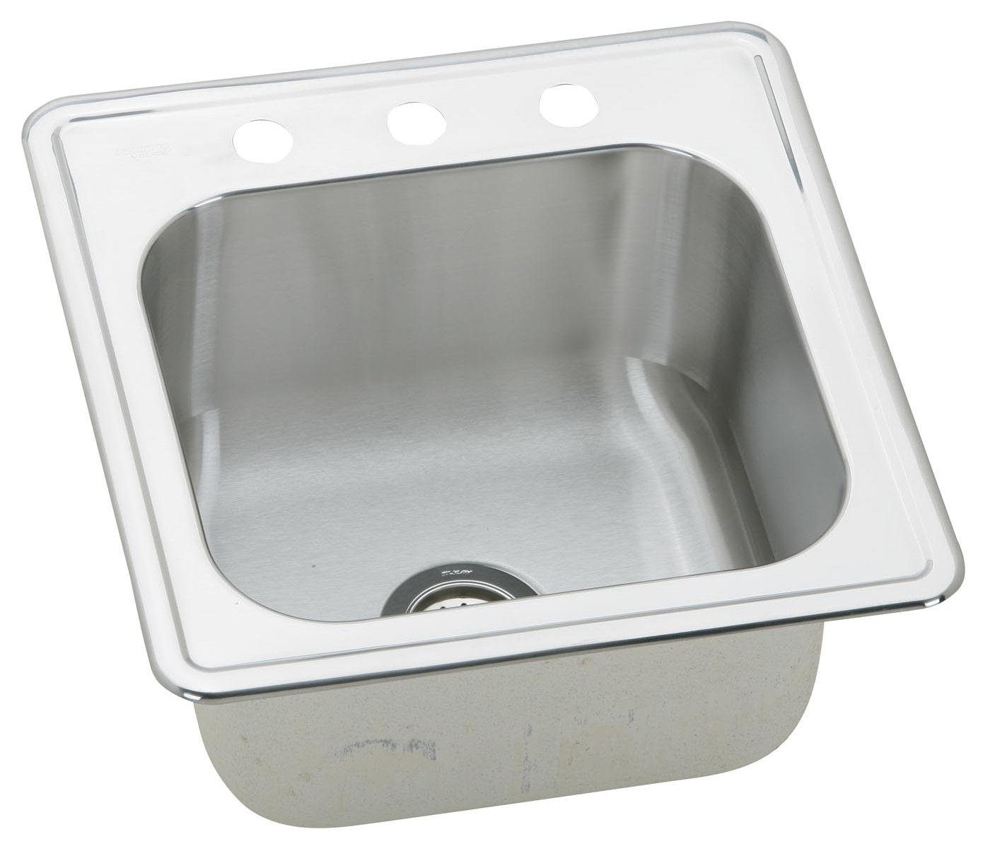 Lovely Elkay ESE2020103 Gourmet Elite 20 Inch By 20 Inch Stainless Steel Single  Bowl Self Rimming Three Hole Kitchen Sink, Satin Finish     Amazon.com