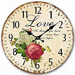 Telisha Wooden Wall Clock Flower Rose Butterfly Love Clock Retro Vintage Large Clock Home Decorative Country Non -Ticking Silent Quiet 14 Inch Gift