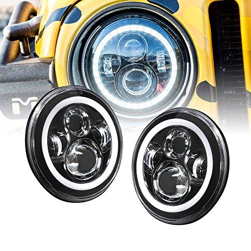 2pc OLS 7 Inch Round LED Headlights Sealed Beam Assembly For Jeep Wrangler JK LJ TJ CJ DJ H4 45W Cold White HALO Turn Signal & DRL