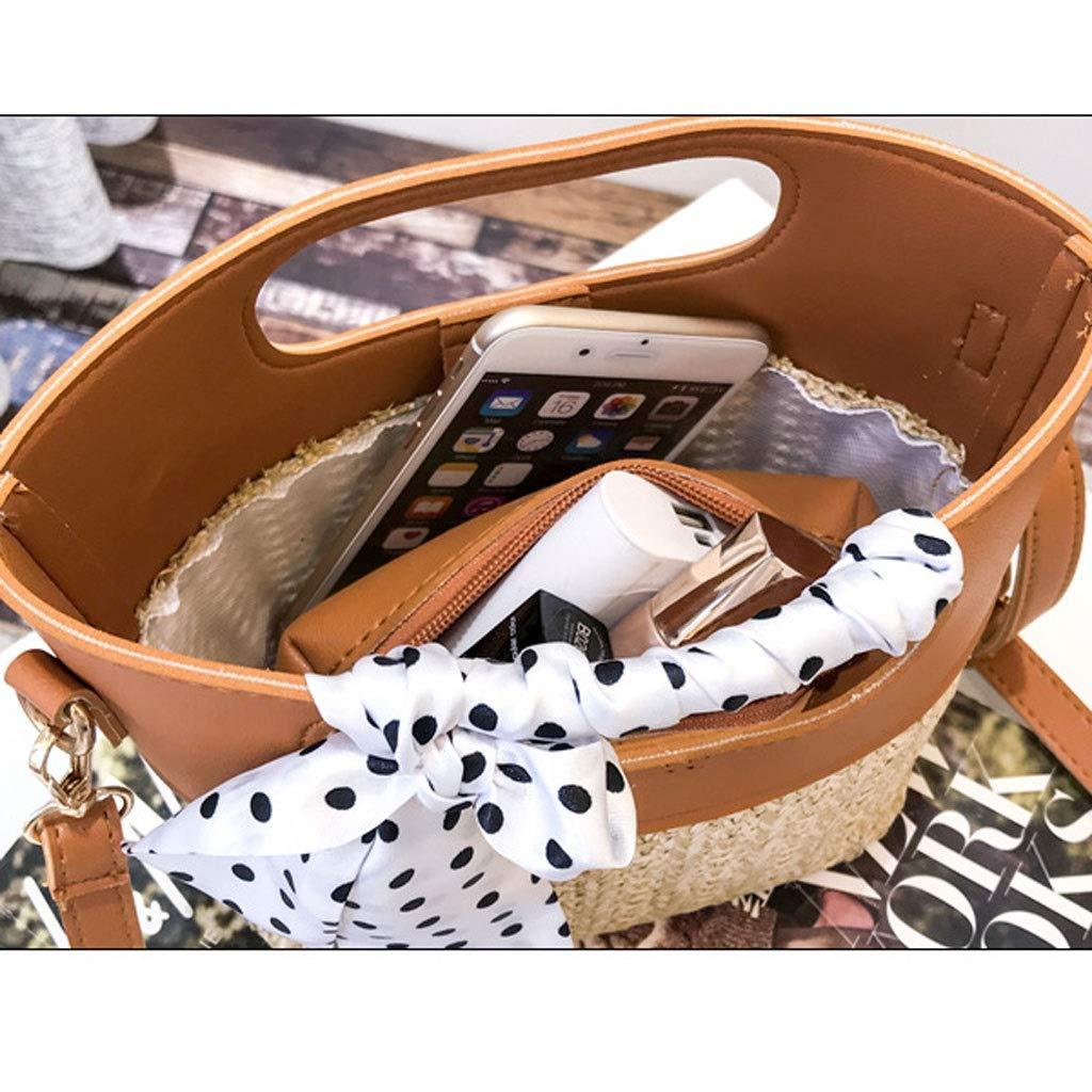 HLD sommar ny hink typ halmväska litterär strandväska vild kvinna väska tidvatten messengerväskor (färg: C) b