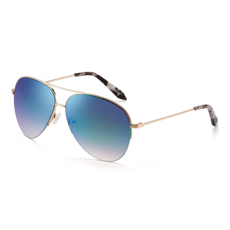Retro Spiegel Flieger Sonnenbrille Oversized Semi-Rimless Brille ...