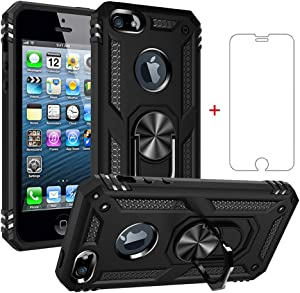 Phone Case for Apple iPhone 5s 5 se Cases with Tempered Glass Screen Protector Ring Holder Stand iPhonesecase i s5 5se i5s 5es se5 Shockproof Back Cover Black