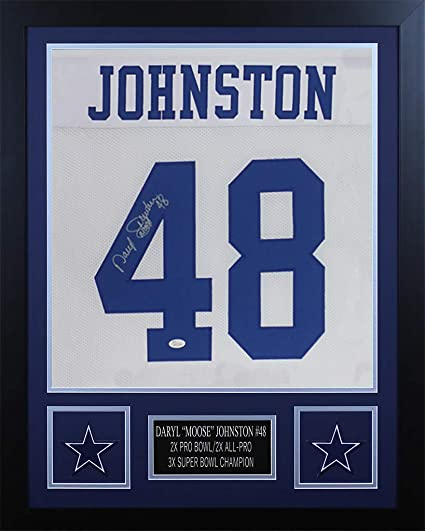 89a077cf3 Daryl Johnston Autographed White Cowboys Jersey - Beautifully Matted and  Framed - Hand Signed By Daryl