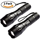 Elekin Flashlight 1000 Lumens T6 LED Flashlight [2 PACK] Aircraft-Grade Aluminum Pocket-Sized LED Torch, 5 Mode Adjustable Focus Zoom, High/Middle/Low/Slow Strobe for Camping Hiking Hunting,Indoor & Outdoor