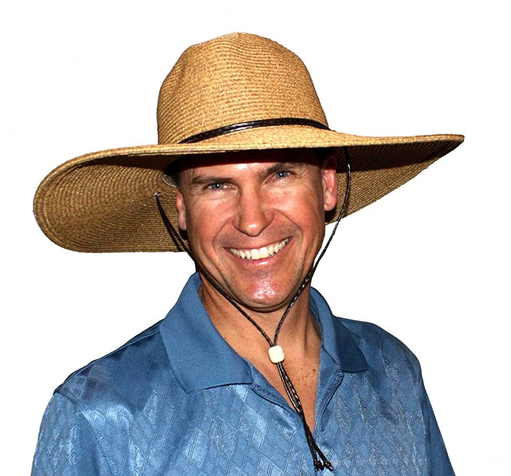 El Ranchero Extra Large Brim Straw Sun Hat for Men with Chin Strap Perfect for Gardening and Outdoors Coffee Large