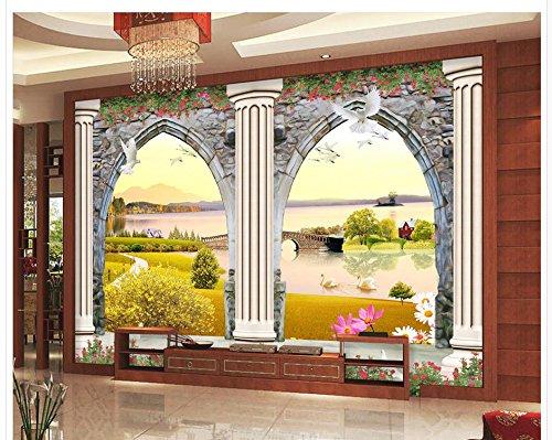 430cmX300cm European 3D doors and windows three-dimensional sculpture Roman column TV photo 3d wallpaper Home Decoration ,G