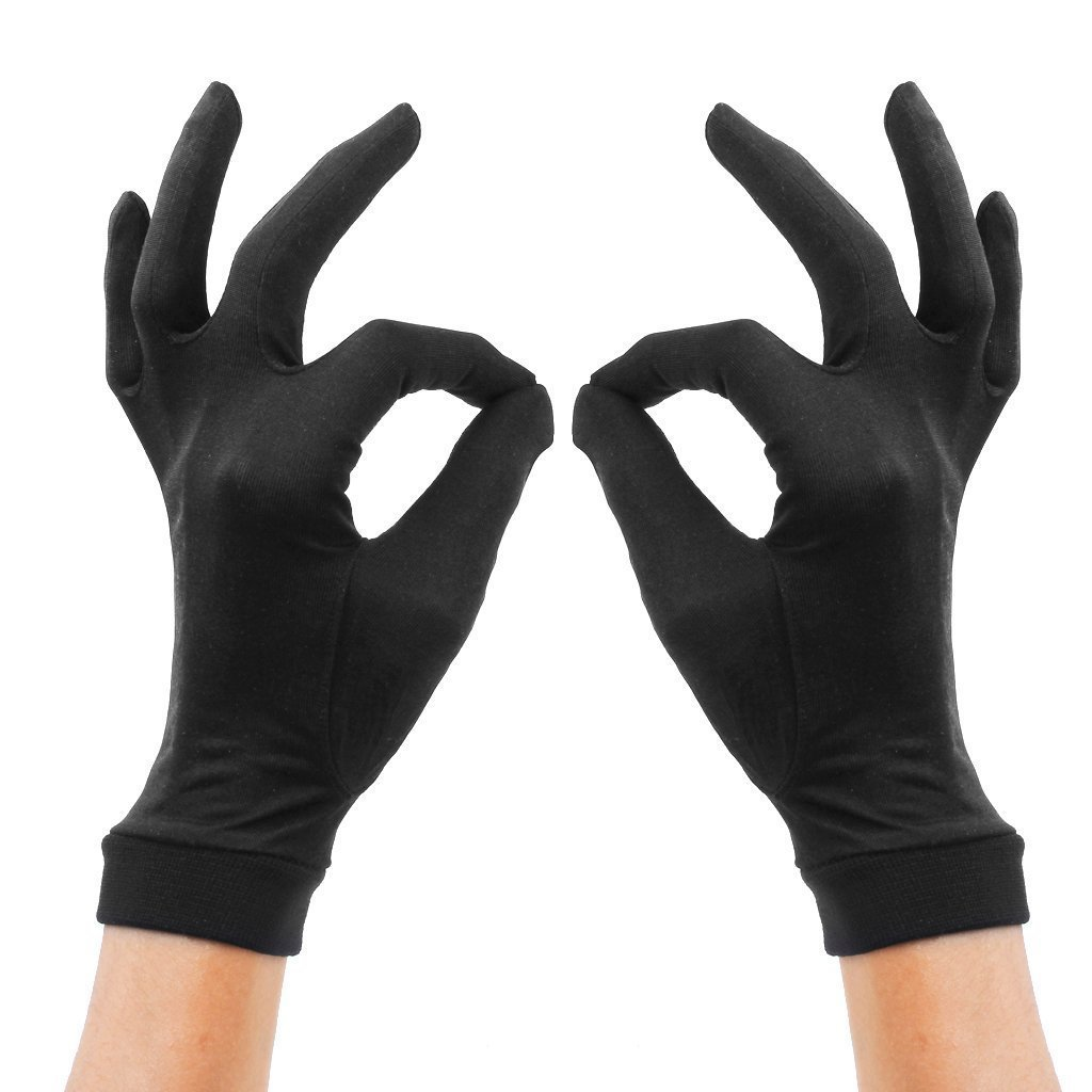 Women's 100% Pure Mulberry Silk Gloves Liner for Bikers, Skiers, Dog Walkers, Cyclists,Black