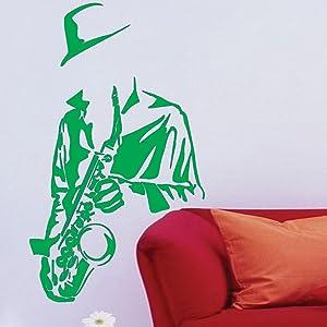 Saxophone Player Wall Vinyl Sticker Art Poster Easy Peel & Stick Wall - Decor