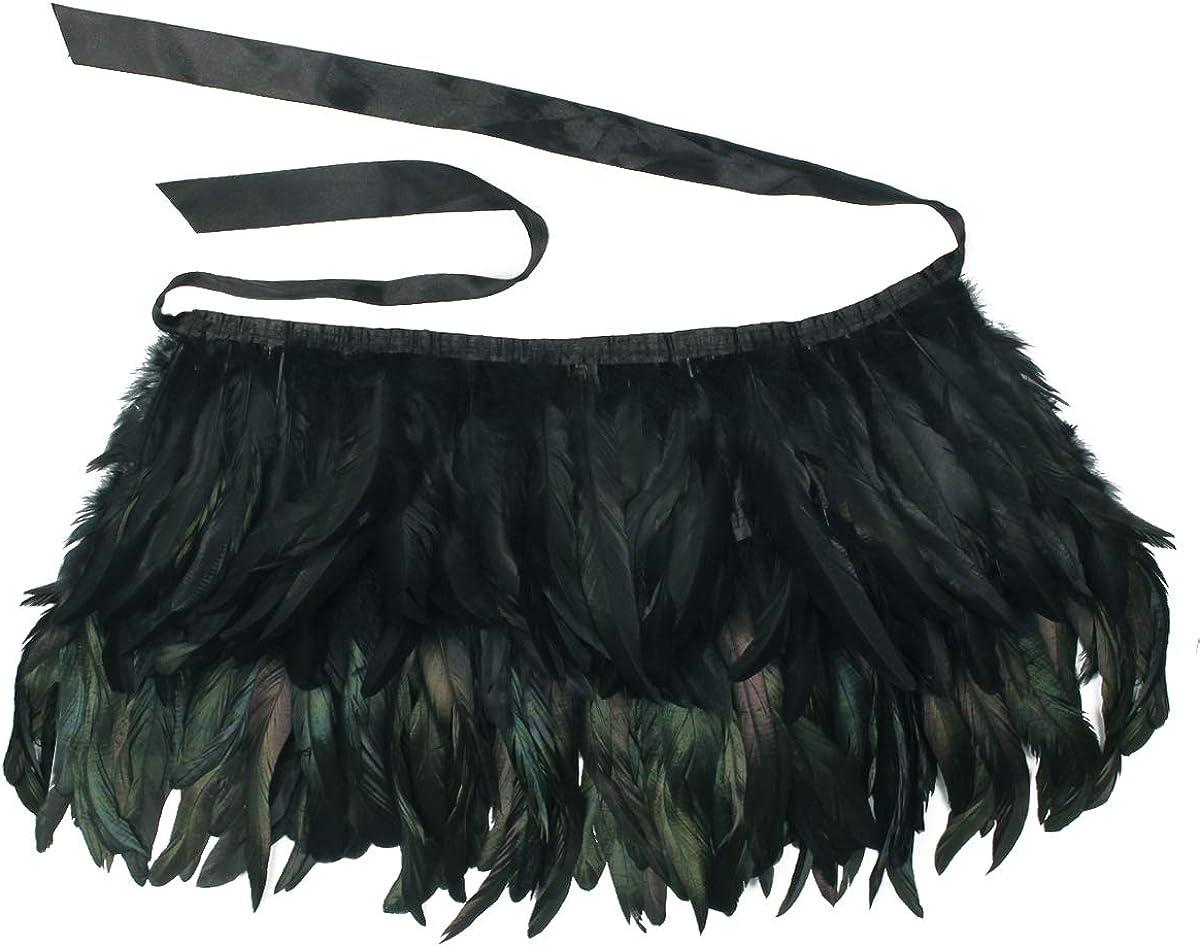 ANSUG Fashion Black Scialle di piume Gothic Natural Cape Wrap Hand Cucito choker Scialli del collare per Cocktail Dress Party Stage