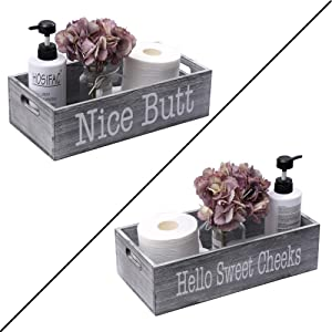 HOSROOME Nice Butt Bathroom Decor Box Toilet Paper Holder for Bathroom Dector Farmhouse Rustic Wood Storage Bin Funny Storage Box for Home Decor,Grey