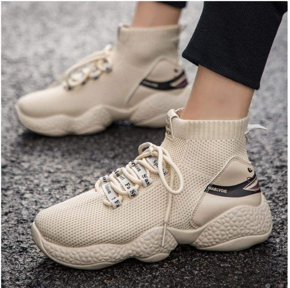 WAXFAS Men's High-Top Cocoa Popcorn Bottom Casual Shoes Men's Breathable Platform Sports Shoes Socks 40