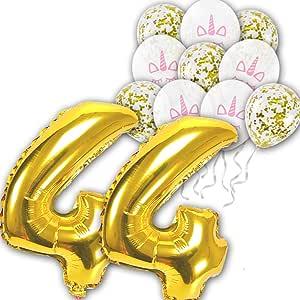 FLASHCHANNEL 12 pcs/set 44th Unicorn Theme white Latex balloons gold confetti balloon for Wedding Birthday Party Decoration Kids Rainbow Balloons Unicorn Party Supplies