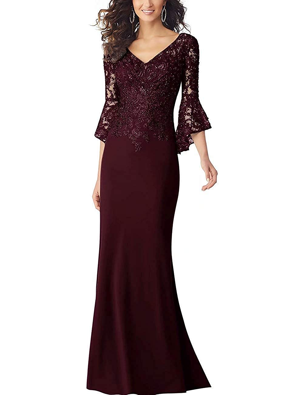 Burgundy PearlBridal Women's Bodycon Mermaid Mother of The Bride Dresses Lace Ruffle Sleeves Long Evening Party Gown