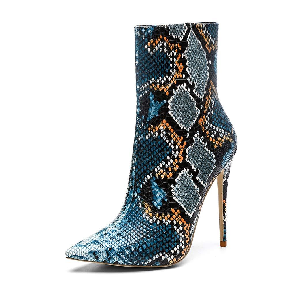 bluee AVENBER Woman Casual Fashion Winter Mid Calf Boots Super High Heel Zip PU Comfortable Short Plush Rubber shoes