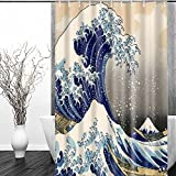 """Sea Wave Shower Curtain - FastEngle Waterproof Polyester Curtain, Custom Fabric Set, Machine Washable for Bathroom Décor Shower Curtain Sets with 12 Hooks, Japanese Style Pattern Ocean 72"""" x 72"""""""