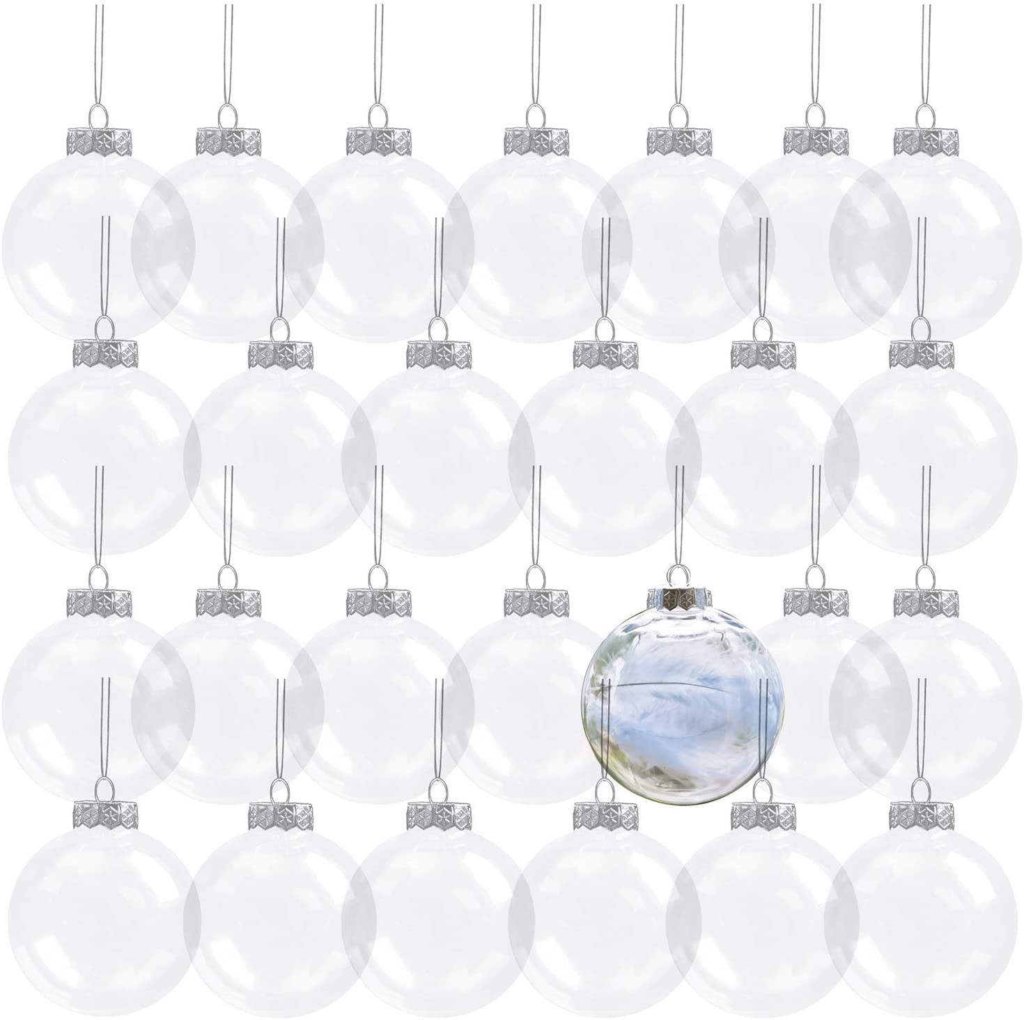 Kingrol 32 Pack 3.15 Inch Clear Plastic Fillable Ornament Balls, for DIY Craft Projects, Christmas, Wedding, Party, Home Decor
