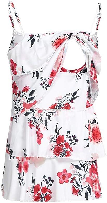 Ropa premamá Camiseta de Lactancia Maternidad para Mujer Camisa Sin Mangas Primavera Verano Estampado Floral Chaleco Amamantar Grande Blusa Mujeres Suelto Embarazadas EnfermeríA Tops (XXL, Blanco): Amazon.es: Ropa y accesorios