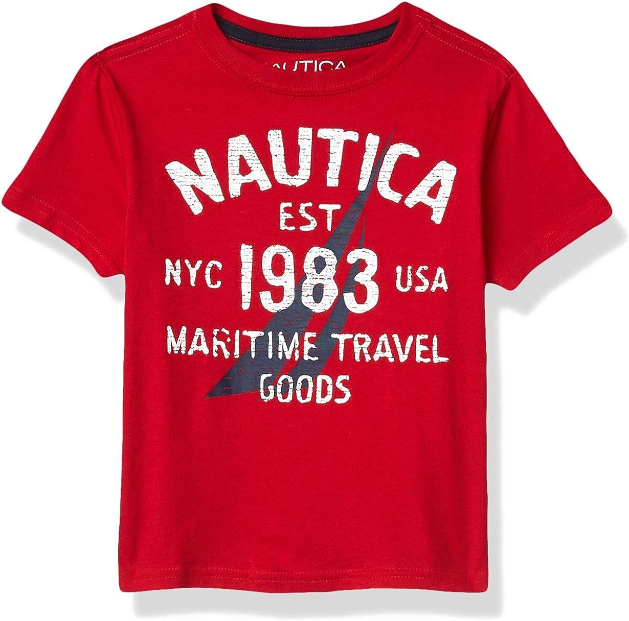 Nautica Boys' Short Sleeve Screenprint Curved Hem Crew Neck T-Shirt