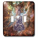 3dRose Religion - Image of Buddha From India Against Colorful Galaxy - Light Switch Covers - double toggle switch (lsp_279886_2)