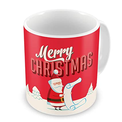 Christmas Mugs.Indigifts Christmas Mugs Merry Christmas Printed Red Coffee Mug 330 Ml Xmas Decorations Christmas Gifts Xmas Mugs Christmas Presents Quirky Mugs