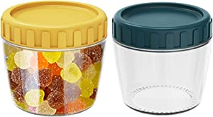 2Pcs Glass Food Storage Containers with Twist Lid 8.8 oz Wide Mouth Opening Jar With Airtight Lids for Easy Refill Great for Candy, Nuts, Cookies, Snacks, Baby Food,Spice & Sauce (Yellow+Blue)