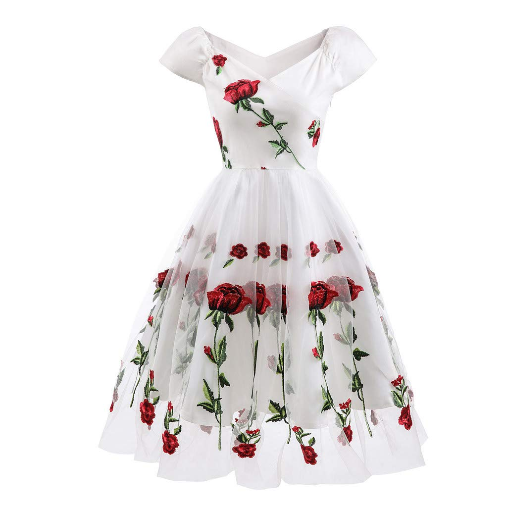 Allywit Women Vintage Princess Floral Embroidery Cocktail Off Shoulder Party Swing Dress White