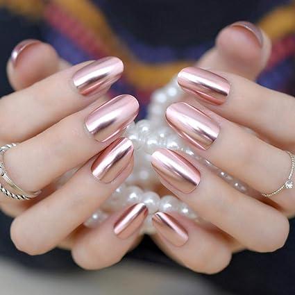 QULIN Espejo metálico Uñas postizas Moda Rosa Uñas acrílicas ...