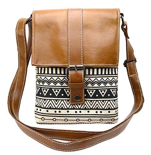 BDJ Aztec Print Cotton Fabric Mini Crossbody Shoulder Handbag (BUA 012)