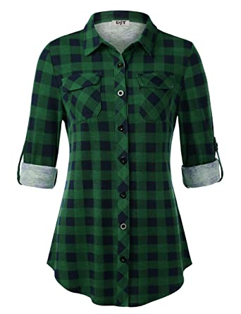 32af1721190 DJT Women s Roll Up Long Sleeve Collared Button Down Plaid Shirt at ...