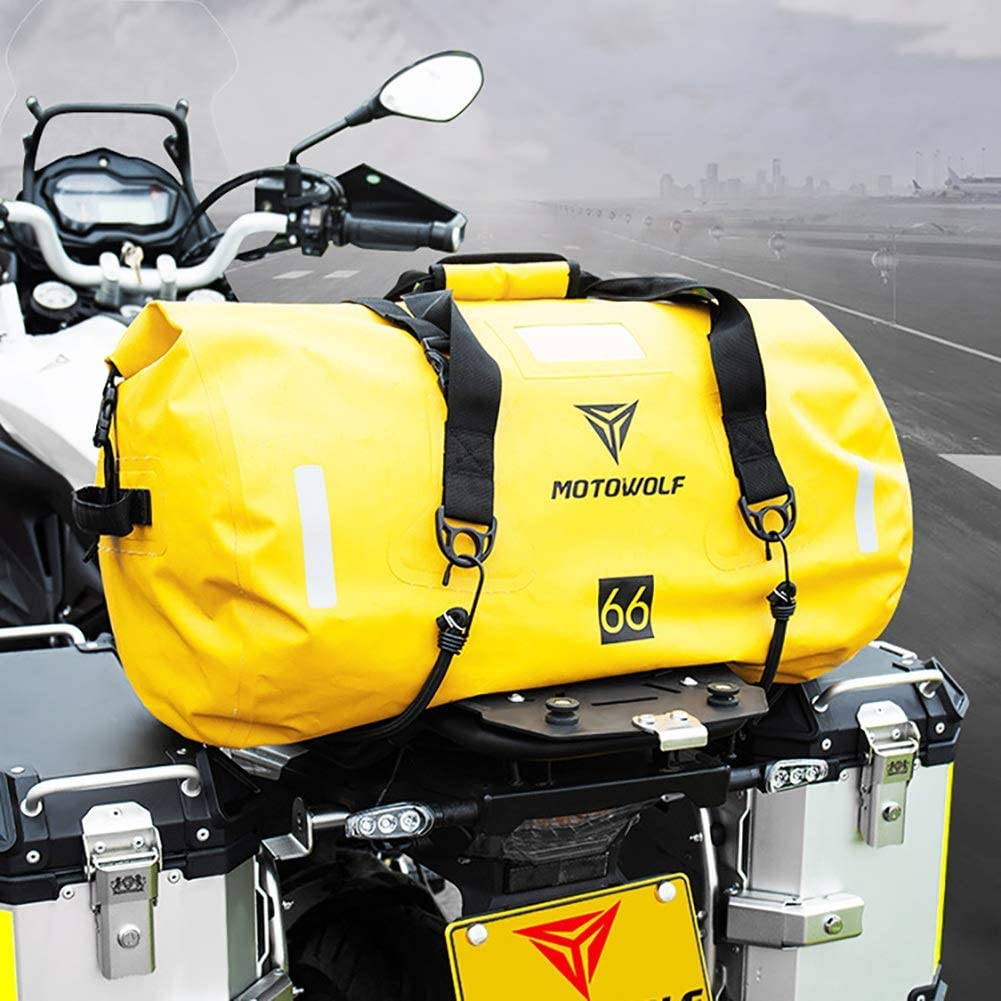 Camping Gym 1 PCS richaoll Motorcycle Tail Seat Bag PU Waterproof Reflective Multifunctional Motorcycle Luggage Bag with Bar Straps- 40L//66L//90L for Motorcycling Hiking Travel Cycling