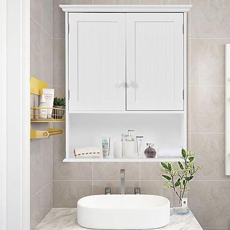 Gentleshower Bathroom Wall Cabinet Wood Medicine Cabinet Multipurpose Home Kitchen Medicine Storage Organizer With 2 Doors And 1 Storage Shelf White